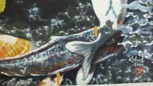 Kate's painting of koi fish needed restoration.