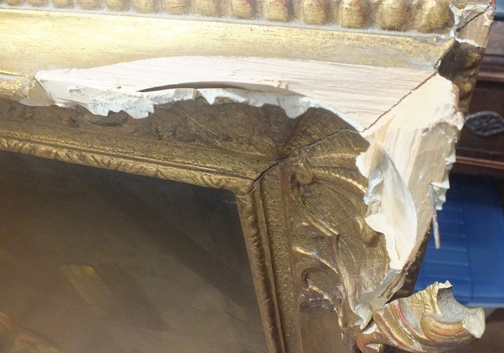 The damaged frame before any restoration work was begun.