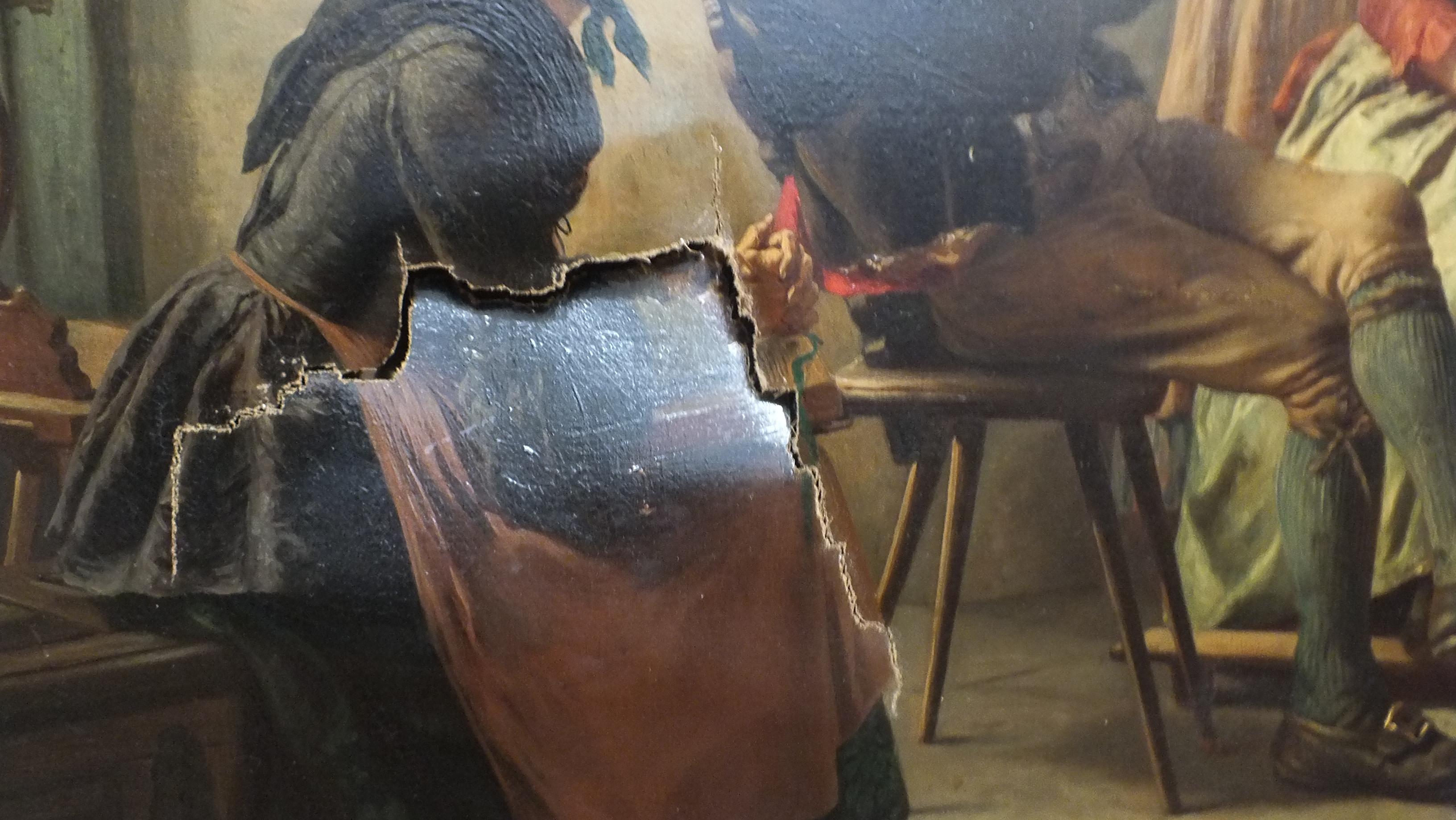 Sample restoration from alchemy fine art restorers severe damage to the canvas that needed restoring solutioingenieria Gallery