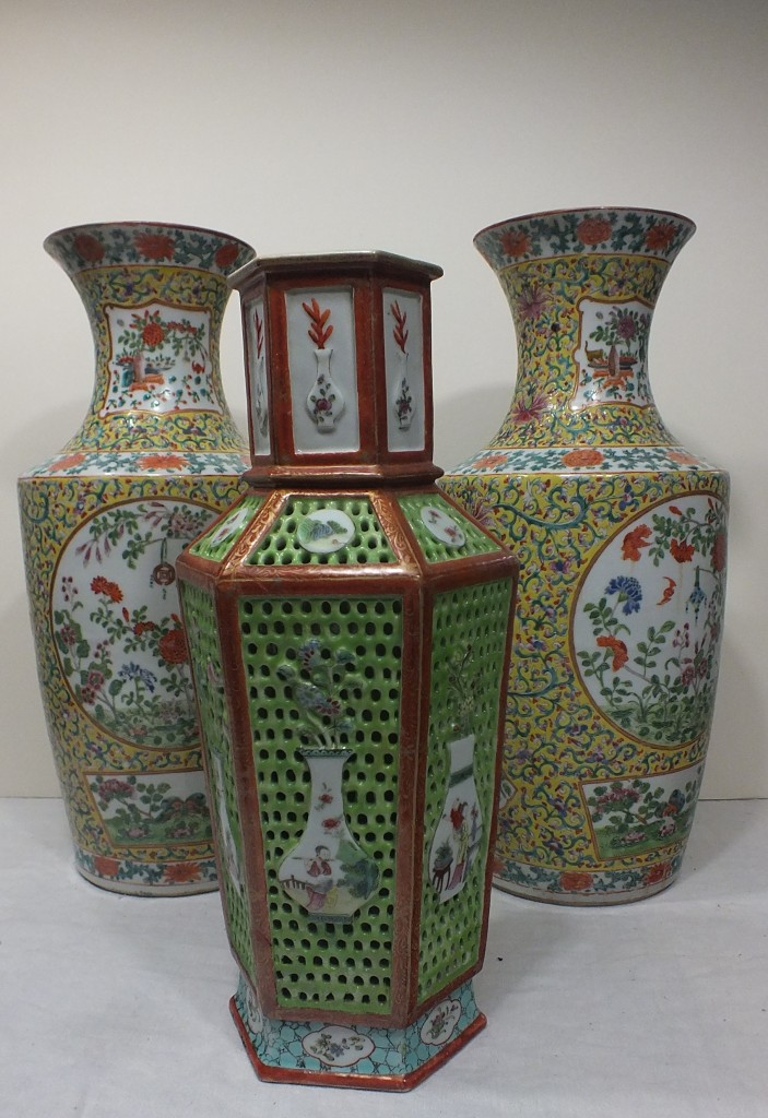 Three gorgeous vases gloriously restored.