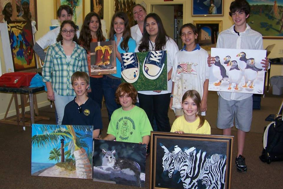Kate's kids class with sample works from her art classes.